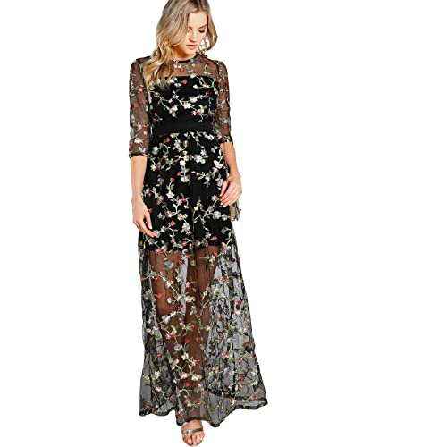 1aa4c2b73beb DIDK Women s A Line Floral Embroidery Mesh Sheer Evening Cocktail Dress