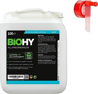 BiOHY Limpiador multiuso, Limpiador de alcohol, Limpiador universal (Bote de 10 litros) + Grifo de Salida   Limpiador Profesional de Mantenimiento - Producto de Limpieza ecológico (Allzweckreiniger)
