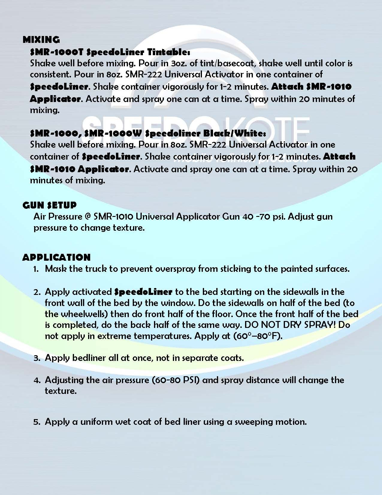 Speedokote T-Rex White Bed Liner, 2K Urethane, SMR-1000W-K4 Truck Bedliner w/Free Spray Gun