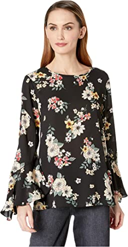 Flared Sleeve Floral Story Blouse