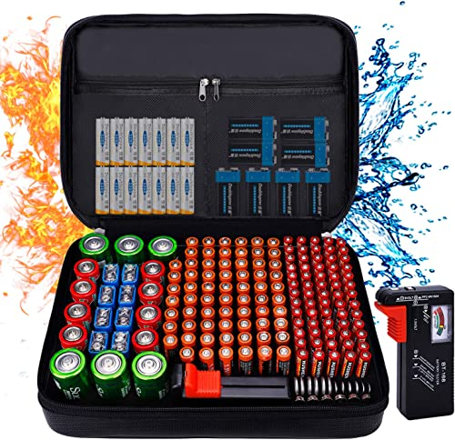 Fireproof Battery Organizer Storage Case Waterproof & Explosionproof, Safe Bag Fits 210+ Batteries Case - with Tester...