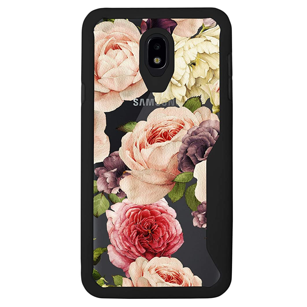 MINITURTLE Case Compatible with Galaxy J7 Aero/J7 Star/J7 Top/J7 Aura/J7 Crown/J7 Refine [Floral Print Case] [Armor Flex Series] Clear and Black TPU Bumper Case - Watercolor Roses