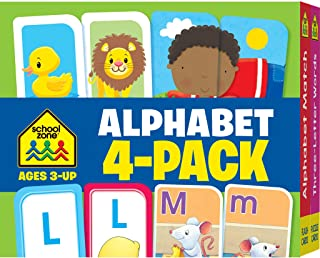 School Zone - Alphabet Flash Cards 4 Pack - Ages 3 and Up, Preschool to Kindergarten, Lowercase and Uppercase Letters, Let...