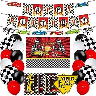 وسایل تزئینی و لوازم مهمانی اتومبیلرانی - تولدت مبارک پس زمینه اتومبیل مسابقه ای ، بنر اتومبیل رانی ، بالن و تابلوهای اتومبیل مسابقه ای برای پسران Let's Go Racing Nascar Party Decorations