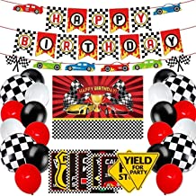 Racing Car Party Decoration and Supplies - Happy Birthday Race Car Backdrop, Racing Car Banner, Balloons and Racing Car Si...