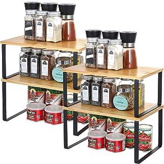 Lot de 4 étagères de cuisine en bambou | Étagère de comptoir, étagère de plan de travail extensible et empilable pour étag...