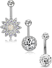 ORAZIO 3-4Pcs 14G Stainless Steel Belly Button Rings for Women Screw Navel Bars CZ Body Piercing
