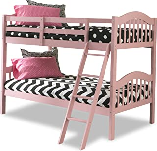 Storkcraft Long Horn Solid Hardwood Twin Bunk Bed, Pink Twin Bunk Beds for Kids with