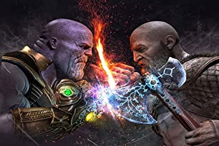 Speaking Thought Poster Kratos god of war vs Thanos Poster Size 12x18 inch