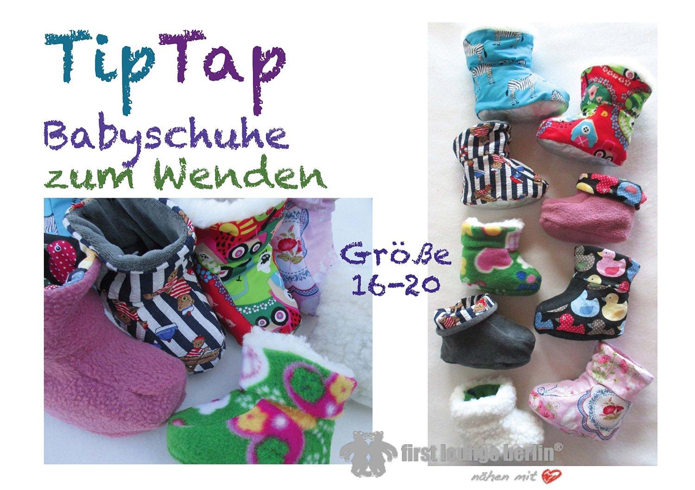 TipTap Nähanleitung mit Schnittmuster für Baby-Hausschuhe zum Wenden...