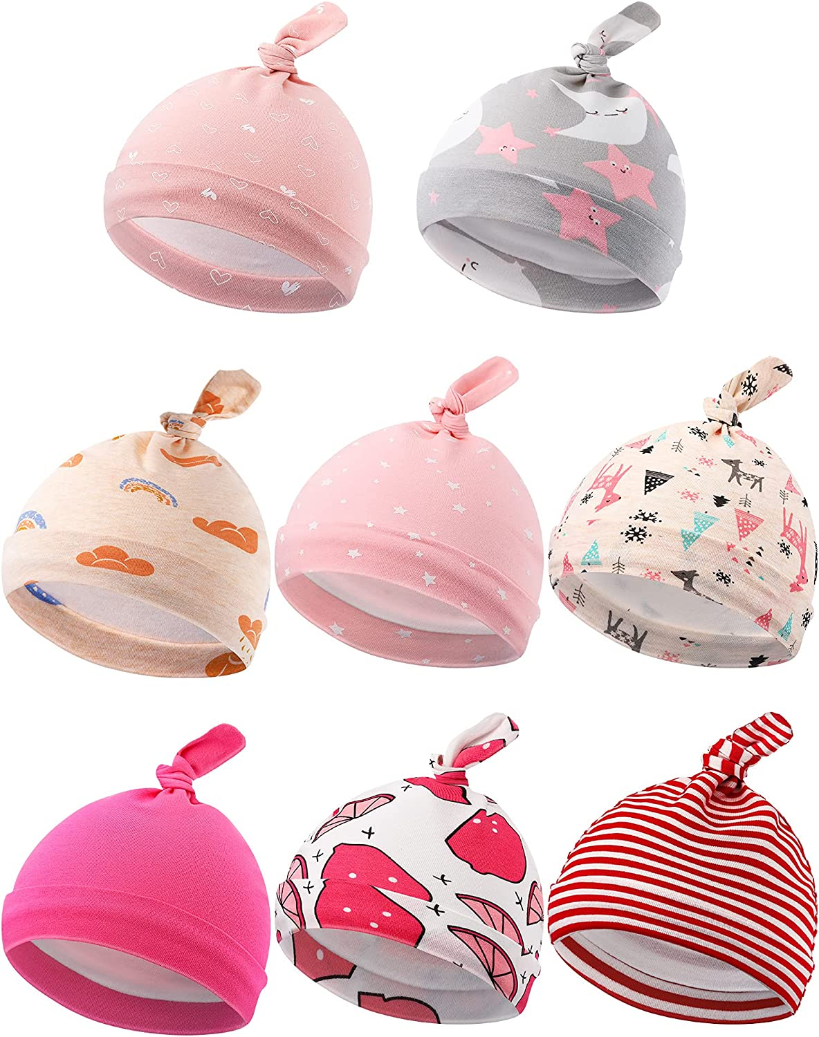 8 Pieces Newborn Infant Hat Knot Beanie Stretchy Knotted Cap for Baby 0-6 Months
