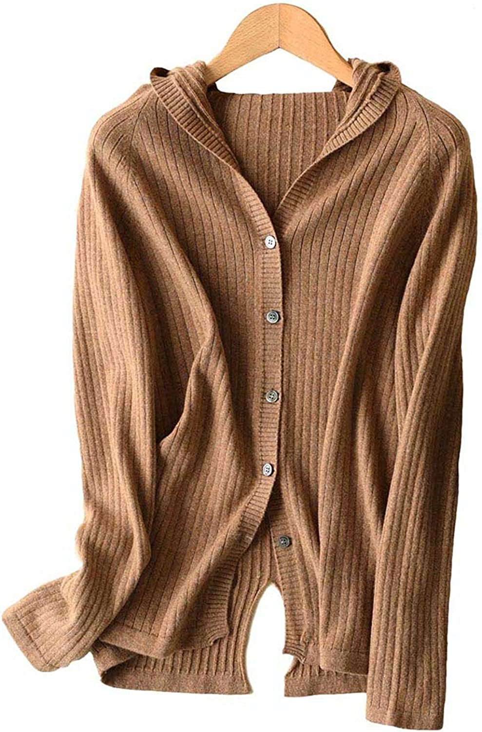Womens hoddie cardigan long sleeve cashmere Wool Sweater Jacket