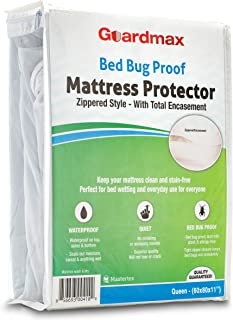 Guardmax Bed Bug Mattress Protector Cover Zippered | 100% Waterproof Encasement | Soft, Hypoallergenic and Breathable | Queen Size (60x80x11)