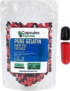 Capsules Express- Size 3 Black and Red Empty Gelatin Capsules- Kosher - Pure Gelatin Pill Capsule - DIY Powder Filling (100)