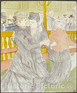 Historic Pictoric Print : Dance at The Moulin Rouge, Henri de Toulouse-Lautrec, c 1969, Vintage Wall Decor : 37in x 44in