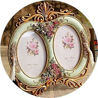 Picture Frame Vintage Photo Frames Home Decor Resin Wedding Desktop Wall Picture Frame for Friend Birthday Wedding Best Gift,Light Green