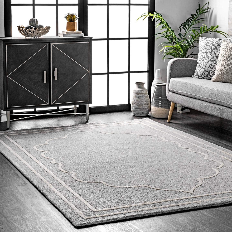 nuLOOM Elegant Borders Rare Wool Area 4' 6' x Rug Japan's largest assortment Grey