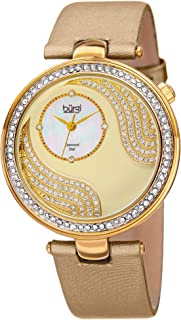 Unique Crystal Pave Design Women's Watch - Mother-of-Pearl and Sparkling Crystal Dial and Case on Genuine Leather Strap - BUR155