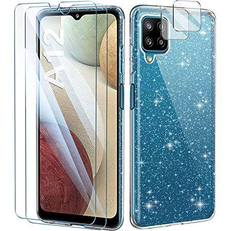 AROYI Coque Compatible avec Samsung Galaxy A12 Paillette,2 Verres Trempés Protection écran 2 pièces Protecteur de caméra,TPU Silicone Etui Souple Clear de Protection Housse Transparent