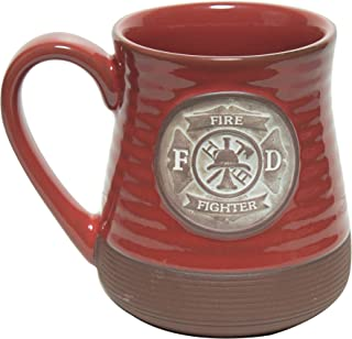 Abbey Gift Firefighter Pottery Mug Red Brown, 4.8 Inches