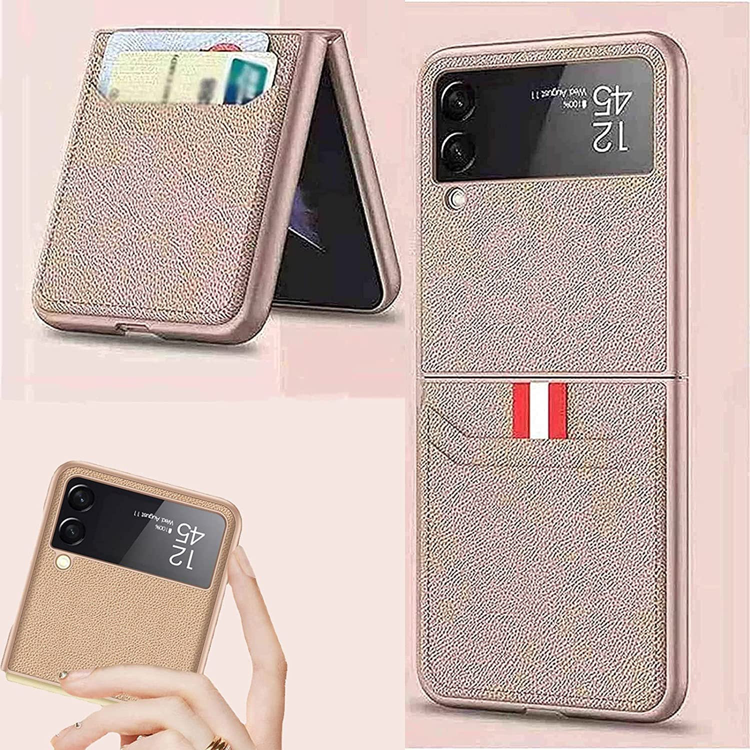 for Samsung Flip 3 Case, Leather Protective Cases with Wallet Card Holder, for Samsung Galaxy Z Flip 3 5g Card Holder Pu Leather Phone Folding Case Cover, Shockproof (Gold)
