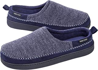VeraCosy Men's Knit Terry Lined Slippers with Memory Foam