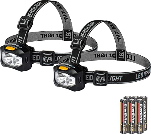 new arrival EverBrite 2-pack Headlamp LED 150 Lumens Battery Operated Super Bright with 2 Red Lights online AAA online Batteries Included online sale