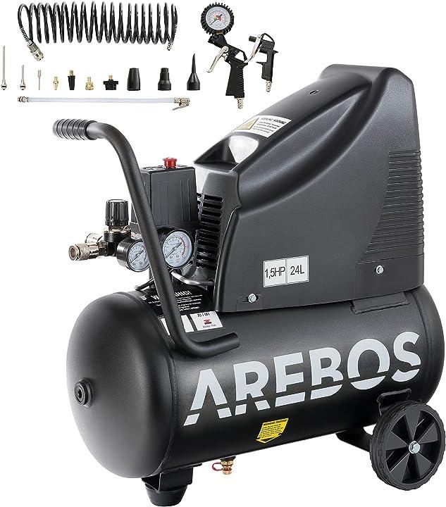 Compressore d`aria arebos | 1100w | 24l con recipiente a pressione senza olio + utensili B081QFSX4Q