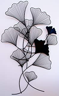 Chermoir Gingko Leaf Metal Wall Art Matte Black 55 x 31.5 x 2 inches - Ready to Hang