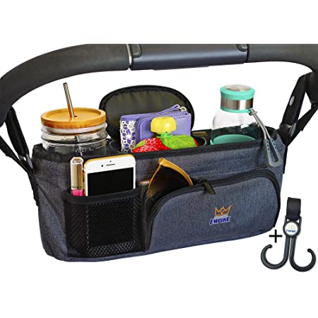 Bugaboo VersionTECH.Universal Stroller Organizer pram bag carriage with Insulated Cup Holder Detachable Shoulder Strap Accessory Infant Uppababy Caddy Bag/Compatible for Stroller like Uppababy BOB Umbrella and Pet Stroller Britax