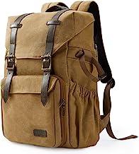 BAGSMART Kamera-Rucksack, wasserabweisende DSLR-Kameratasche aus Segeltuch für bis zu 15 Zoll Laptops mit Regenschutz, Stativhalterung für Damen und Herren, Khaki-Large