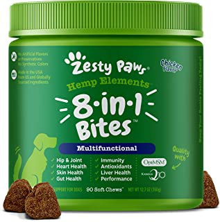 Zesty Paws Multivitamin for Dogs with Hemp - Glucosamine Chondroitin + Msm for Hip & Joint Health - Enzymes & Probiotics f...