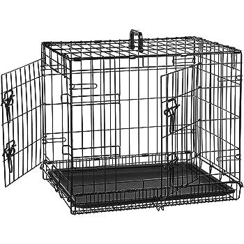 AmazonBasics Double-Door Folding Metal Dog Crate, Black, 24-inch