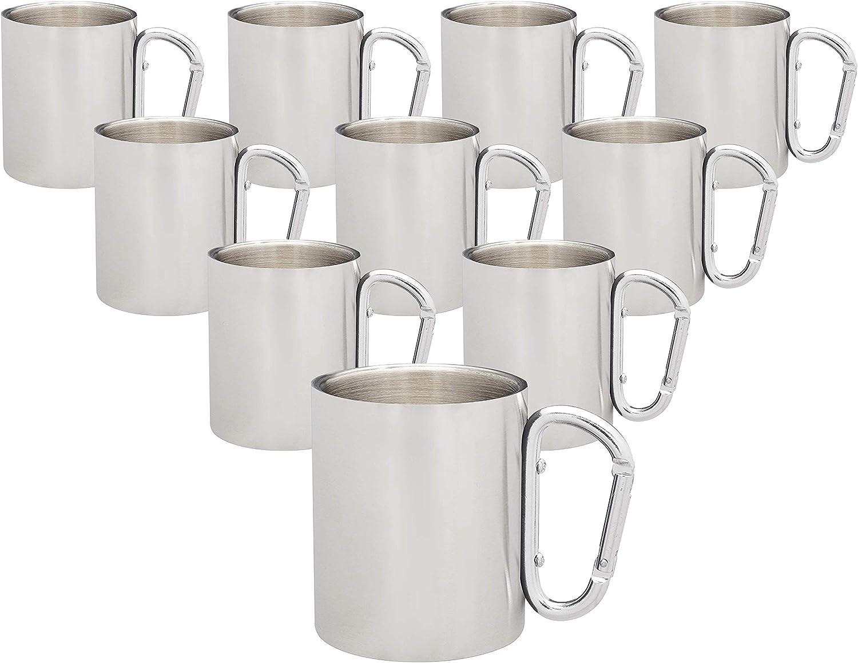 情熱セール Discuont Promos Carabiner Handle Stainless Steel pack 10 Mugs 最安値に挑戦