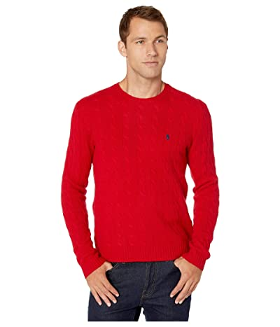 Polo Ralph Lauren Wool Cashmere Long Sleeve Cable Knit Sweater (Park Avenue Red) Men