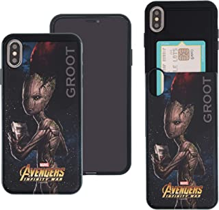 iPhone Xs Max Case Marvel Avengers Infinity War Slim Slider Cover : Card Slot Shock Absorption Dual Layer Holder Bumper for [ iPhone Xs Max ] Case - Groot