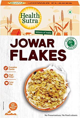 Health Sutra Jowar Flakes 500gms Gluten Free Dietary Fibre Protein Rich Breakfast Unflavored Toasted Alternative to Oats