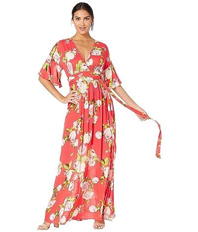 BCBGMAXAZRIA Floral Maxi Dress (Scarlet Rose Bloom) Women