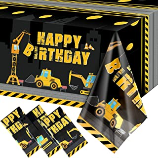 3 Pieces Construction Happy Birthday Tablecloth Dump Truck Birthday Table Covers Tractor Plastic Printed Tablecloth Constr...