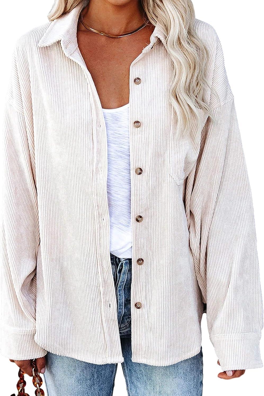 UANEO Womens Corduroy Oversized Button Down Long Sleeve Tunic Shirts Overshirts