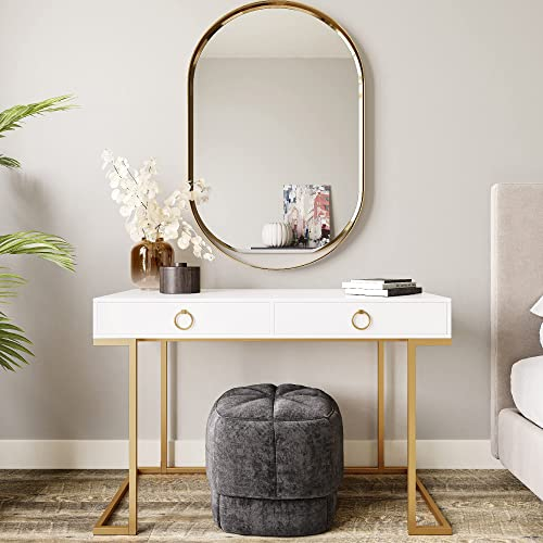 discount BELLEZE Modern Makeup Vanity Dressing Table high quality or Home Office Computer Laptop Writing Desk with Two Storage Drawers, new arrival Wood Top, and Gold Metal Frame - Chelsea (White) online sale