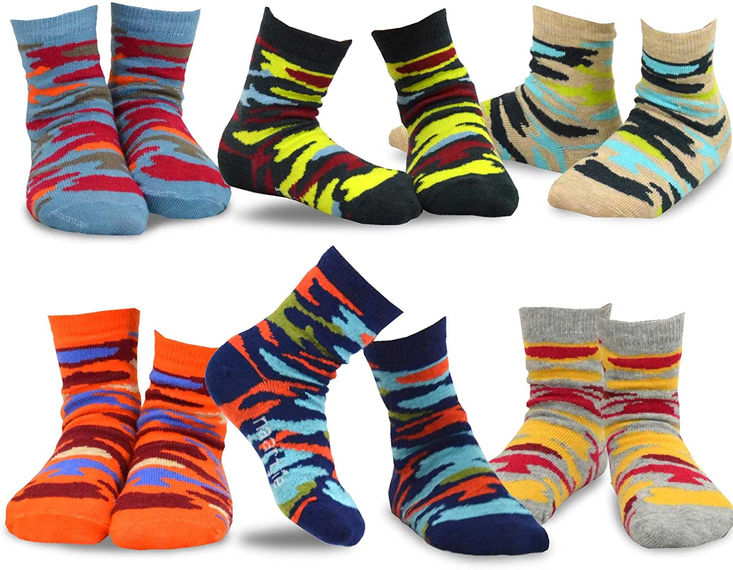TeeHee Little Boys and Toddler Casual Sports Novelty Cotton Crew Socks 18 Pair Pack Gift Box: Clothing, Shoes & Jewelry