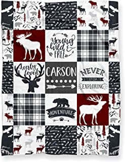 Personalized Woodland Deer Moose Elk Adventure Blanket for Nursery Crib Throw or Toddler Bed | Tribal Boho Baby Patchwork Themed Soft Minky Blanket for Boy or Girl