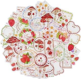 MissOrange いちご きのこ 花柄 フレーム 和紙手帳デコ 手帳シール かわいい デコレーションステッカー 4パック 160枚入り T-12