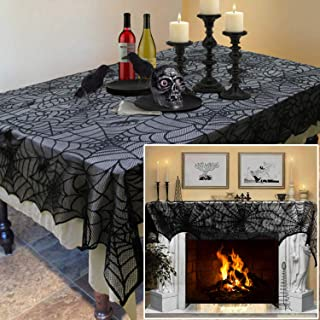 2 PCs Halloween Decorations Set, Black Lace Spiderweb Fireplace Mantle 18 x 96 Inches, Black Lace Spiderweb Tablecloth 60 x 84 Inches, Best Choice for Halloween Party Supplies