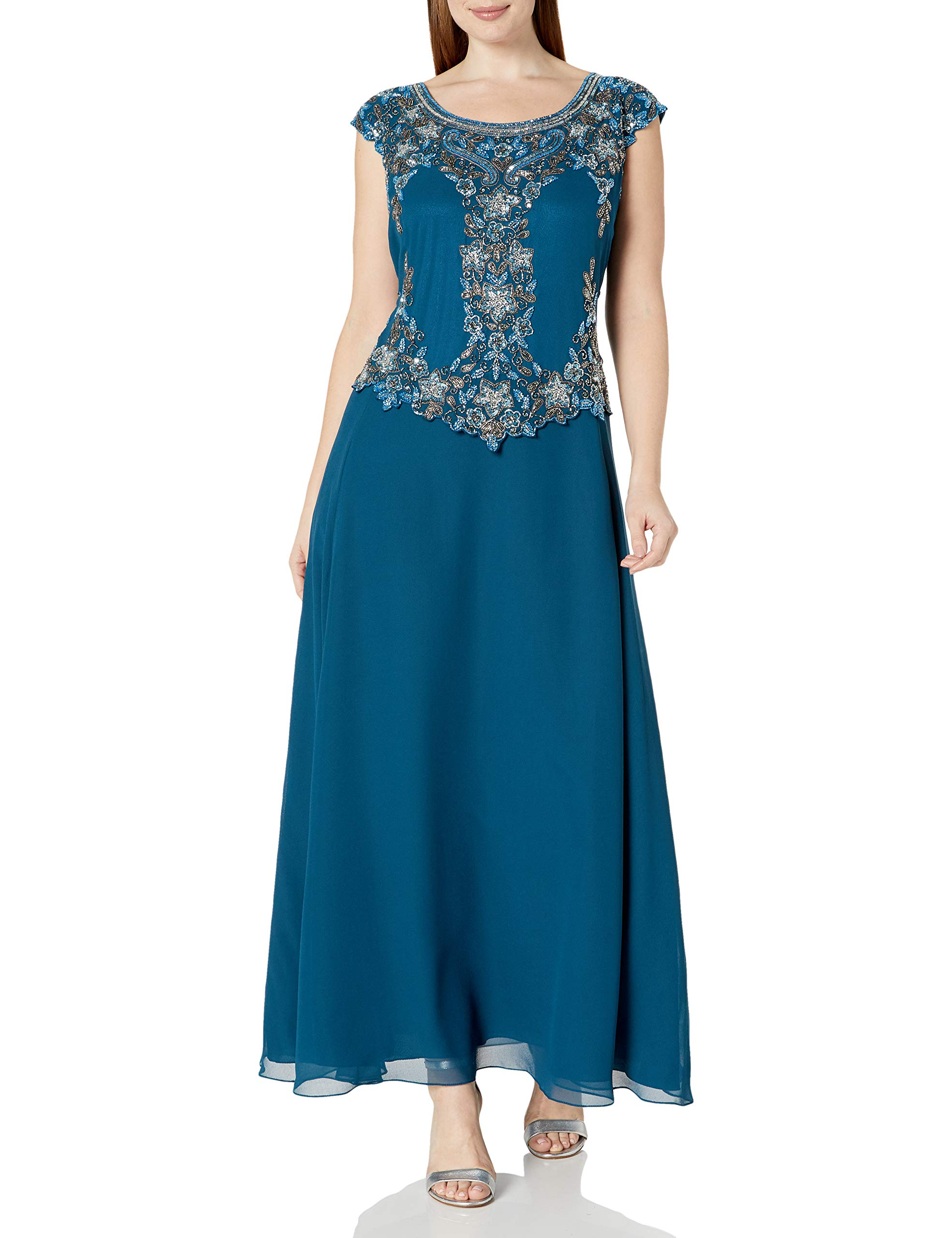 Available at Amazon: J Kara Women's Cap Sleeve Long Beaded Dress