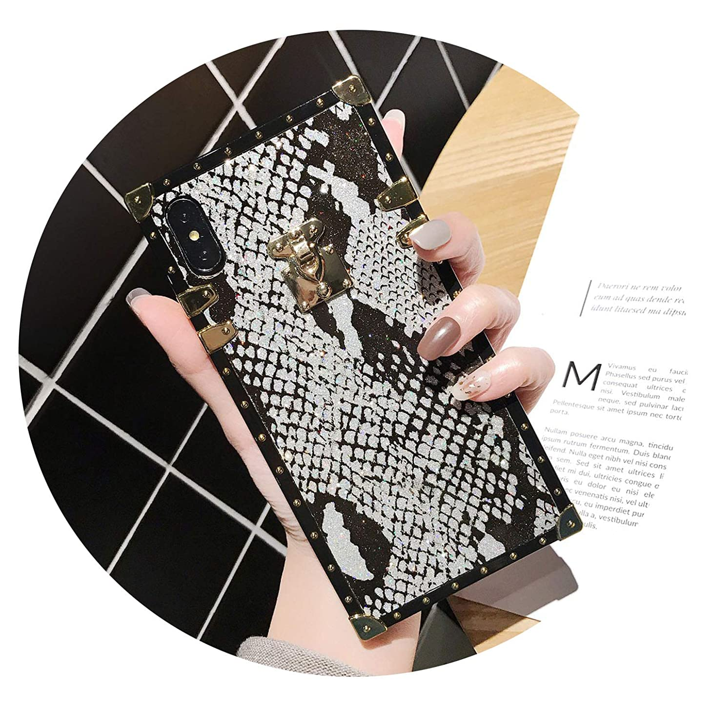 Vintage Snake Skin Case for iPhone 7 8 6 6S Plus Luxury Brand Square Phone Cover for iPhone 8Plus X XR XS Max,Silver,for iPhone Xs Max