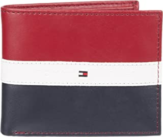 Men's Slim Leather Bifold Wallet-Red White and Blue Flag Design