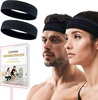 Empire 2 Pack Black Headband, Head Band for Woman Sport Headband for Men, FREE HOME WORKOUT E-BOOK, Gym Hair Band, Running...