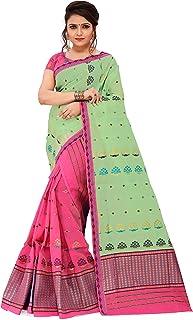 SKiran's Assamese Weaving Cotton Mekhela Chador Saree - Dn24 Mekhla Sador (Pgreen & Rani)